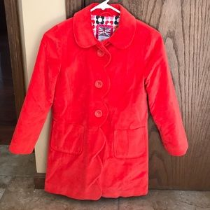Girls red velvet dress coat